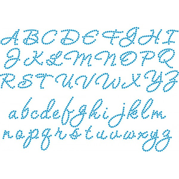 Cursive Alphabet Design Rhinestone Artwork
